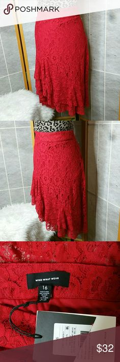Flash Sale!!!Who What Whear Skirt Who What Wear Women's Fluted Lace Skirt - Red - Size:16 Who What Wear Skirts Asymmetrical