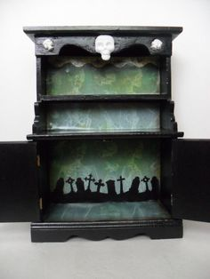 Gothic display cabinet with skeleton theme by nacreous alchemy gothic home decor, dark home decor