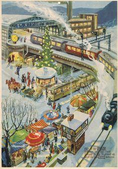 Bahnhof Advent calendar by Rolf Muller Holiday Train, Christmas Train, Christmas Scenes, Christmas Holidays, Merry Christmas, Christmas Decorations, Xmas, Advent Calander, Retro Christmas