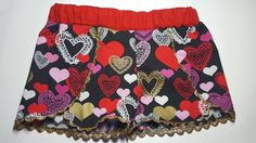 Valentine's day shorts hearts girls by JsjumbledjewelsStore
