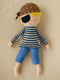 Fabric Doll Rag Doll Blond Boy Pirate Doll by rovingovine on Etsy