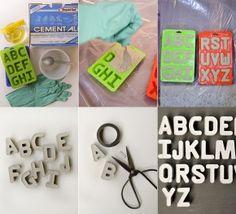 Zou dit lukken? Zelf letters maken met sneldrogend cement of gips? Proberen waard!