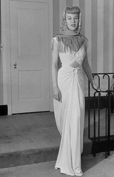 Evening gown with shawl accessory c.1940's