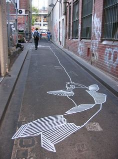 """Masking Tape Graffiti by Buff Diss; """"This is non-destructive graffiti. Masking tape does not damage buildings, windows, or sidewalks and it can be easily removed at any time. Masking Tape Art, Duct Tape, Washi Tape, Mural Art, Wall Mural, Street Art Graffiti, Australian Artists, Street Artists, Public Art"""