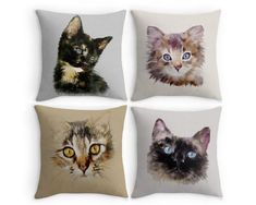 Cat Scatter Cushion, 16x16 Throw Pillow, Fine Art Cushion Cover, Gift for Cat Owners