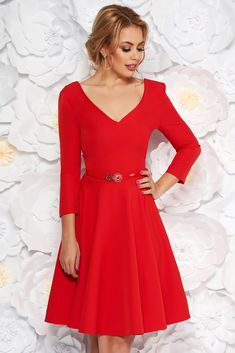 "StarShinerS red dress elegant cloche slightly elastic fabric accessorized with belt, accessorized with belt, flaring cut, ""V"" cleavage, 3/4 sleeves, slightly elastic fabric"