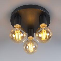 QAZQA Facil 3 - Plafondlamp - 3 lichts - 250 mm - zwart