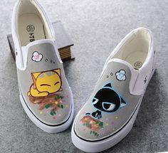 XQC Cartoon Cat Dog Hand Painted Shoes Children Girls Boys Breathable Flat Shoe Animal Duck Fish Bone Graffiti Canvas Sneakers