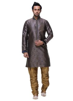 Buy Brown Brocade Sherwani online from the wide collection of achkan-sherwani. Brown colored achkan-sherwani goes well with any occasion. Shop online Designer achkan-sherwani from cbazaar at the lowest price.