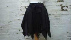 59$Custom order for Crystal Black Skirt Woman's Clothing Upcycled Lace Tribal Layers Mori Girl Woodland Dark Fairy Pixie