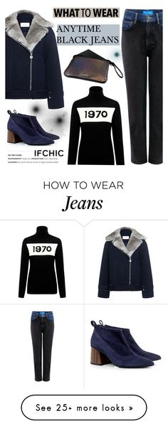 """""""What to wear: Anytime Black Jeans"""" by ifchic on Polyvore featuring Carven, M.i.h Jeans, Bella Freud, Eugenia Kim and Mohzy"""