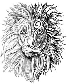 Lion Print, Zentangle Art, Lion Drawing, Art Prints, Black and White Prints, Wall Art, Lion, Zentangle, Prints, Black and White Wall Art