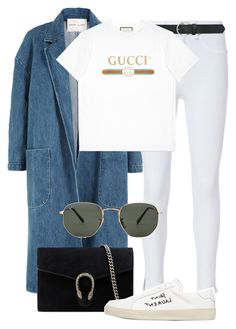 """""""Untitled #2459"""" by annielizjung ❤ liked on Polyvore featuring Sandy Liang, rag & bone, M&Co, Gucci, Yves Saint Laurent and Ray-Ban"""