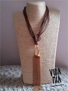 Collares largos - Collar de cordón y cadenas doradas - hecho a mano por VIDA-MIA-complementos en DaWanda