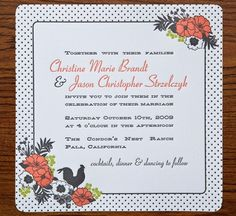 Oh So Beautiful Paper: Christine + Jason's Polka Dot and Floral Wedding invitations