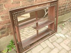 Antique Wall Mirrored Shelves, Wood, Shabby Chic Cottage Decor,  bedroom mirror, living room furniture, dining room decor on Etsy, $139.00