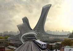 Gallery of AMLGM Proposes to Top New York Transportation Hubs with Sprawling Tower - 1