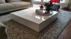 Design zwevend wit hoogglans salontafel kubus