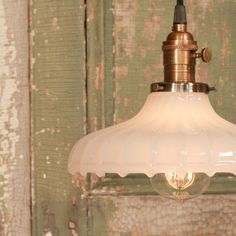 Reproduction Lighting with Vintage Sheffield Style Milk Glass Shade & Reproduction Black Twist Wire