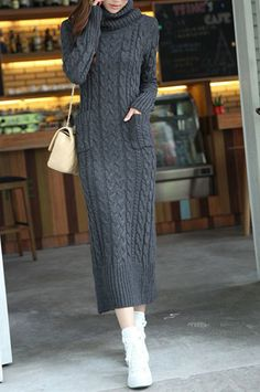 Stylish Turtle Neck Twist Design Solid Color Jag Pockets Long Sleeves Slimming Sweater Dress For Women Cable Knit Sweater Dress, Sweater Dress Outfit, Knit Dress, Sweater Dresses, Sweater Coats, Knitwear Fashion, Knit Fashion, Long Sweaters, Sweaters For Women