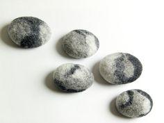 Felt Fridge Magnets  Set of 5 Rocks by felttess on Etsy, $21.00