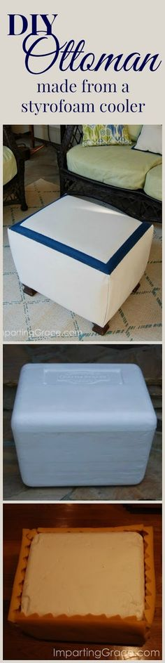 Tutorial for a beautiful DIY ottoman made from a sturdy styrofoam cooler! Easy step-by-step instructions.