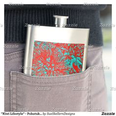 "Shop ""Kiwi Lifestyle"" - Pohutukawa NZ Bloom Huee Hip Flask created by SueSkellernDesigns. Quatrefoil, New Product, Flask, Bloom, Mugs, Kiwi, Lifestyle, Products, Don Quixote"