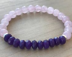 Rose Quartz Bracelet, Lilac Kunzite Bracelet, Kunzite Bracelet, Yoga Bracelet, Healing Energy Bracelet, Spiritual Bracelet, Boho Bracelet