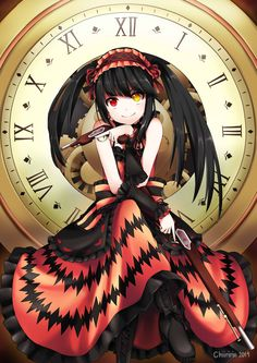 Anime picture 4133x5846 with  date a live tokisaki kurumi chiiririn long hair single tall image highres black hair looking at viewer smile twintails absurdres heterochromia girl dress weapon detached sleeves boots gun clock
