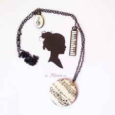 Fa medálos zene nyaklánc, Ékszer, óra, Ruha, divat, cipő, Mindenmás, Nyaklánc, Meska