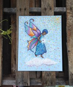 ORIGINAL Angel Art Acrylic Painting White Light by BlevinsCoheaArt