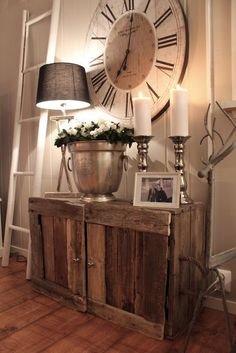 This is fabulous! The rustic cabinet and the HUGE clock, love it! I've been eyeing the oversized clock for awhile…now to just find a spot hmmmmm