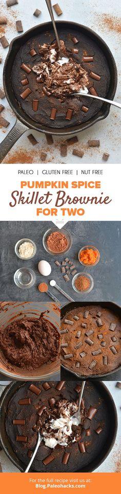 Warm, rich and fudgy, this Paleo #Pumpkin Spice Skillet #Brownie is the perfect dessert for two! Get the full recipe here: https://blog.paleohacks.com/pumpkin-spice-skillet-brownie/