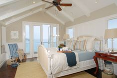 wainscoting between windows with centered bed - DTM Interiors by Aimee Miller Master Bedroom Bathroom, Dream Bedroom, Family Room Addition, Sweet Home Design, Ocean Home Decor, Guest Bed, Guest Room, Traditional Bedroom, New Living Room