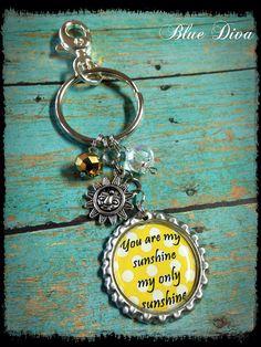 You are my Sunshine... Bottle Cap Keychain, Purse Charm, bag Charm on Etsy, $8.50