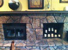 q i m wondering how i could update this moss rock fireplace, diy, fireplaces mantels, home decor, how to