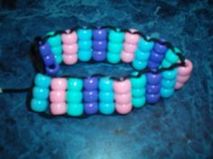 Pony Beads Craft - Beaded Easter Bracelet.  Do in Blue and Yellow for Cub Scouts.