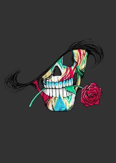 Very cool skull art! Badass Skulls, Skull Wallpaper, Hipster Wallpaper, Estilo Rock, Skeleton Art, Sugar Skull Art, Sugar Skulls, Sugar Skull Face, Skull Art