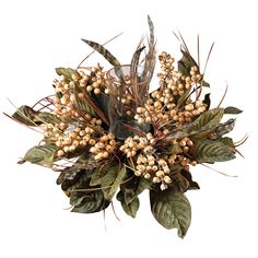 You can charm any dinner guest with this gorgeous Sangle Berry and bird feather candle holder! This luminous creation is sure to light your fire and makes a festive addition to any dining room. Delicate beige berries sit perched atop a bed of leafy foliage and sprouts of soft patterned feathers. Best of all, this unique creation is versatile enough to display at any time of the year!