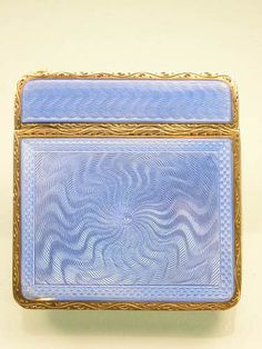 Art Deco Silver and Enamel Compact BEAUTIFUL, LOOKS LIKE ENGINE TURNED ENAMEL IN A GORGEOUS SKY BLUE <3<3<3 @
