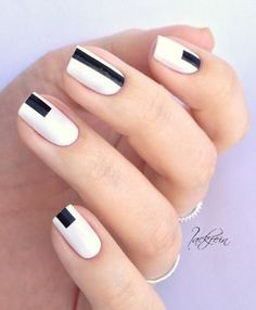 Minimalistic Black and White Geometric Nail Design