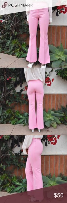 Vintage Pink Bell Pants Pink pants for a girl boss 💘 Late 60s/early 70s Labeled a vintage size 5/6 but best fits Modern size 2 Model is a 26in waist  Rise 11.7in Inseam 39in   Follow @whatuhfox on Instagram  Like Urban Outfitters, Reformation, 70s, Brandy Melville, Nastygal, Revolve Reformation Jeans