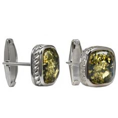 Men's Sterling Silver Green Amber Square Filigree Cuff Links Amazon Curated Collection. $74.00. Gemstones may have been treated to improve their appearance or durability and may require special care. May be washed with warm water and soap.. Save 43%!