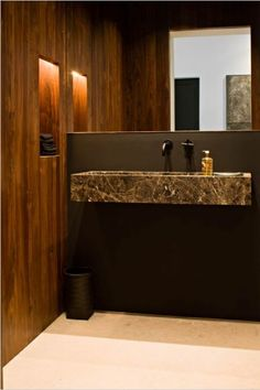 Powder Room - Fine materials  finishes - cleverly designed.  (re-pinned photo - Hullebusch)