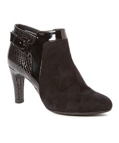 This Black Loman Suede Bootie by Bandolino is perfect! #zulilyfinds