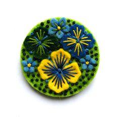 Summer rain felt brooch with freeform embroidery by designedbyjane