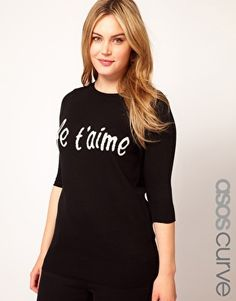 woven Je t'aime sweater - ASOS