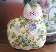 Cat Pillow Doll Cloth Doll 7 inch Vintage Look by CharlotteStyle, $14.00