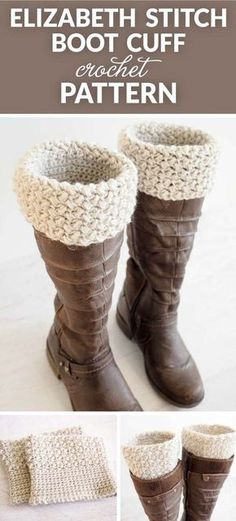 Elizabeth Stitch Boot Cuff Crochet Pattern - very quick and easy to make. They're the perfect accessory to go with a pair of jeans and your favorite boots.