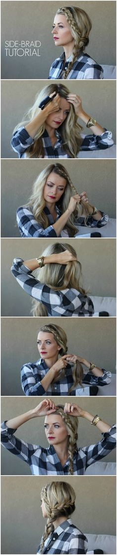 I love an easy braided hairstyle! This Side-Braid Tutorial gets so many compliments - give it a try :) #blushingbasics